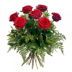 San Valentino1 -bouquet of 7 red roses green leaves