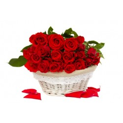 San Valentino9-- Basket of yellow roses with red bed the green complementary