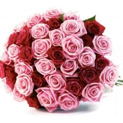 Buchet de 40 de trandafiri roșii și roz