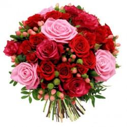 Bouquet di 40 roselline rosse e rosa