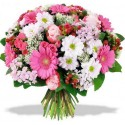 A Bouquet of pink roses,gerberas pink, red berries and white flowers complementary