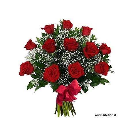 Bouquet de 12 roses rouges, moyen