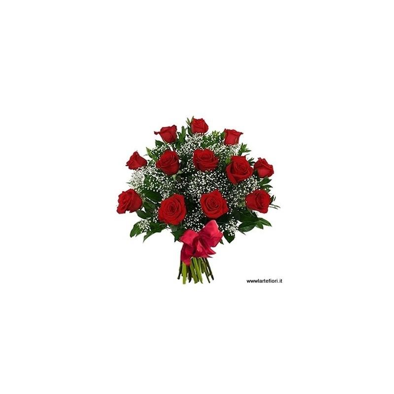 Bouquet of 12 red roses, medium